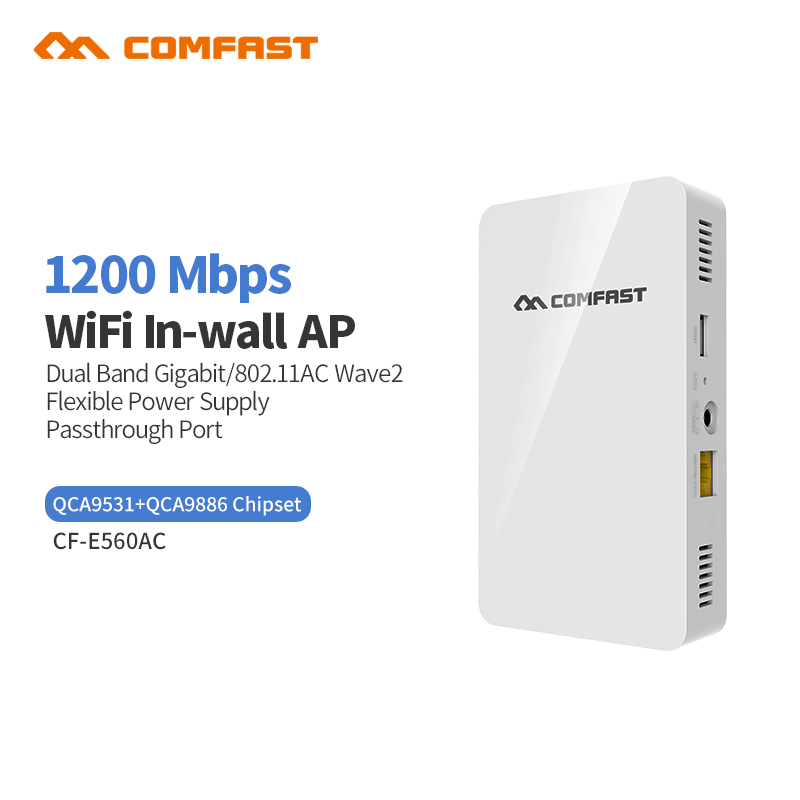 2018 New Comfast Gigabit Dual Band Wall AP for Hotel Embedded Access Point Pass through port + 4 Lan Ports Wi-Fi Wireless AP порт вах h3c волшебники h3c волшебное r200 версия 1200m gigabit dual band wireless router gigabit fiber частный домашний маршрутизатор wi fi