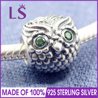LS High Quality 100% Real 925 Silver Wise Owl Charm Beads Fit Original Bracelets Pulseira Encantos.Factory Wholesale & Retail