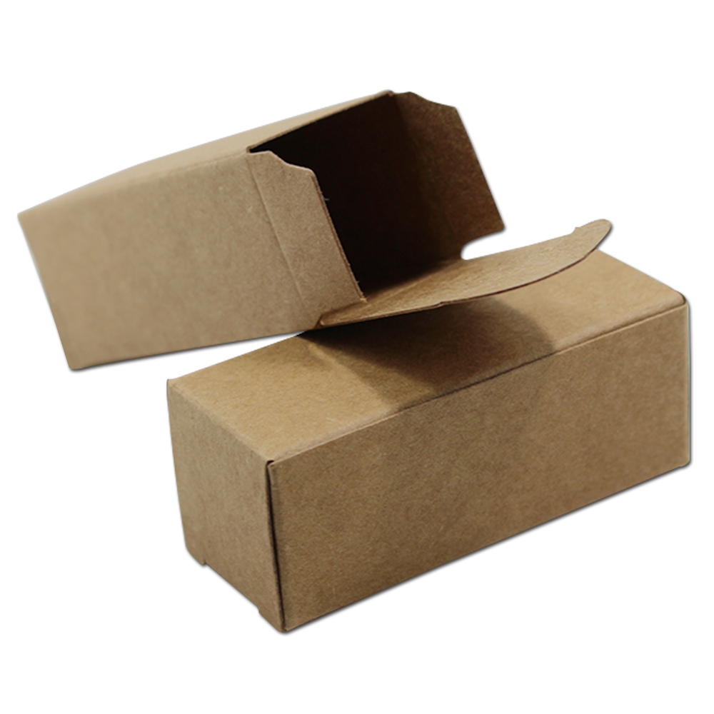 400Pcs Solid Brown Craft Paper DIY Small Gifts Packaging Boxes Cardboard Essential Oil Bottle Packing Box