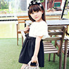 Cotton Linen Bow Girl Dress Summer With Sleeves Summer 2017 Red Black White Patchwork Big Baby