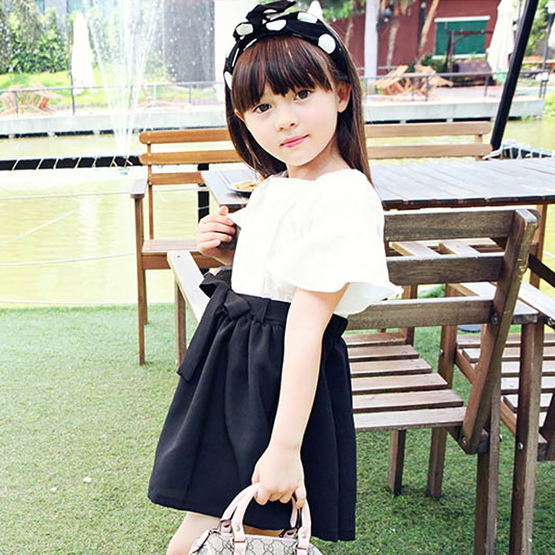 cotton linen bow girl dress summer with sleeves summer 2017 red black white patchwork big baby girl clothes dresses children цена и фото