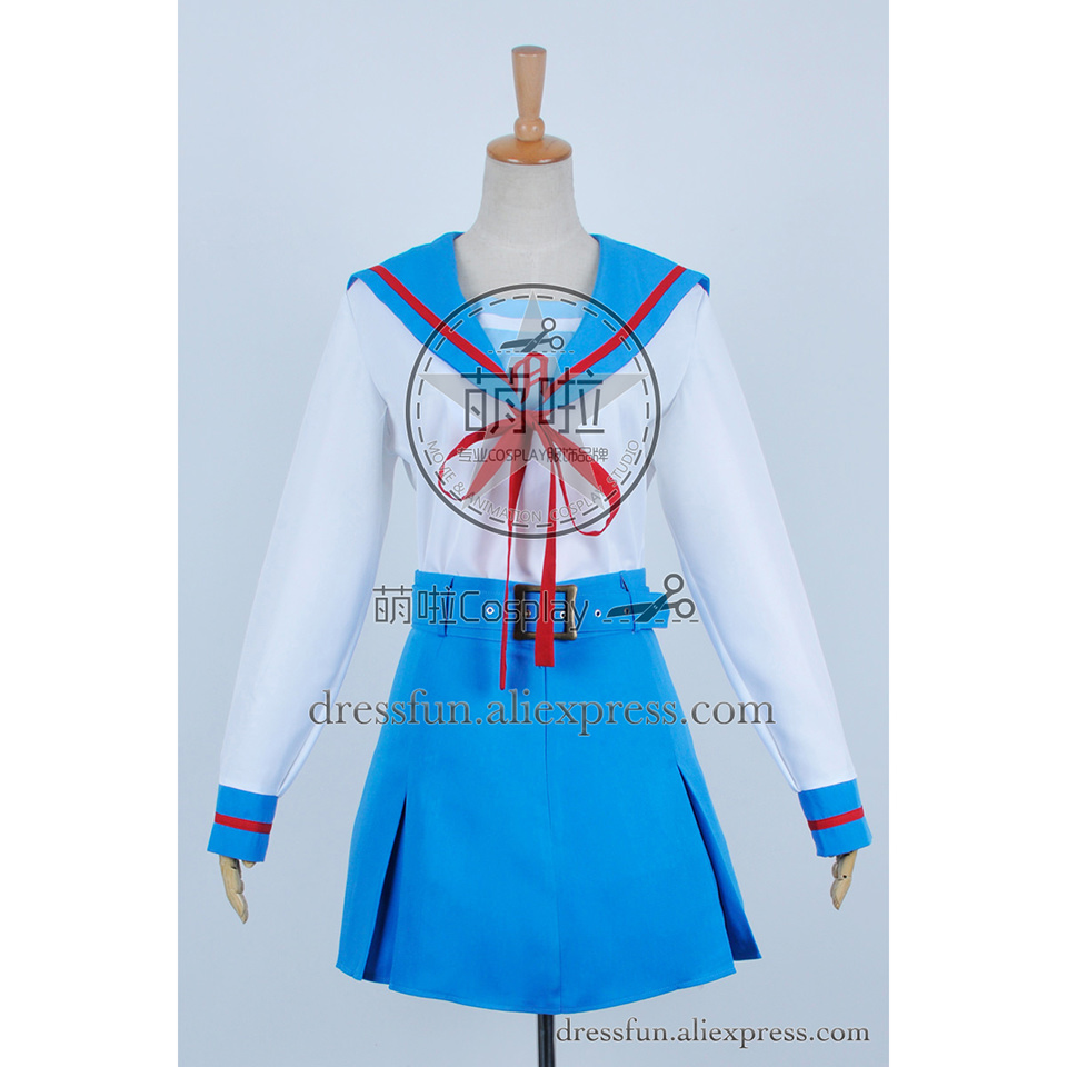 The Melancholy Of Haruhi Suzumiya Cosplay Haruhi Suzumiya Costume School Girl Uniform Blue Dress Skirt Halloween In Stock