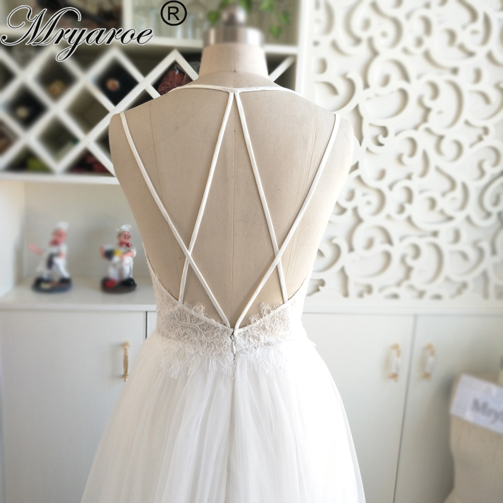 Mryarce 2018 Sexy Back Beach Wedding Dress Eyelash French Lace Criss cross Open Back Tulle A