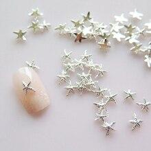 100pcs Gold Silver 3mm5mm Starfish Nail Charm/ 3D Allo Decoration/ Sea Metal Charms/ ALLOY Art/ Art Supplies