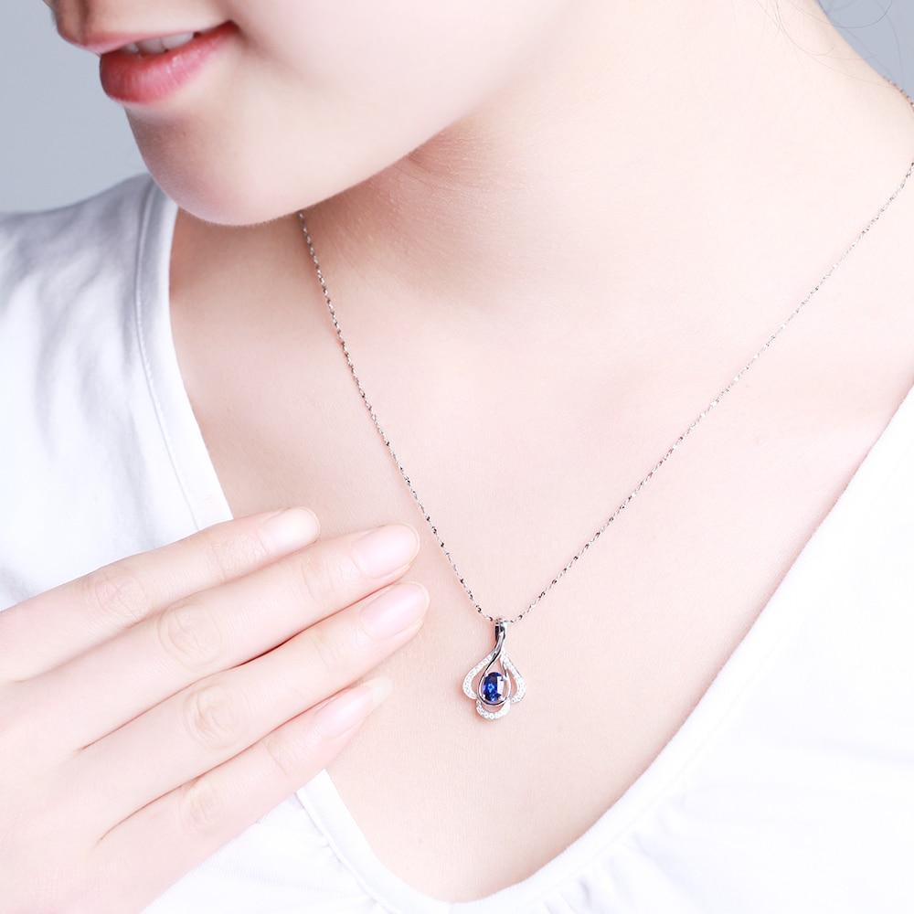 GVBORI сапфировый драгоценный камень алмазный кулон+ цепочка из стерлингового серебра 925 пробы ожерелье ювелирные украшения для женщин Валентина