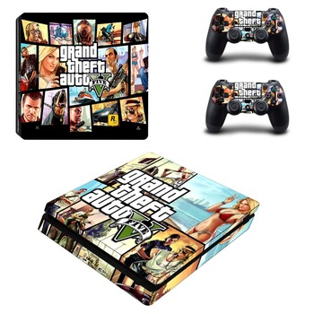 Game Grand Theft Auto PS4 Slim Skin Sticker Decal Vinyl for Sony Playstation 4 Console and 2 Controllers PS4 Slim Skin Sticker
