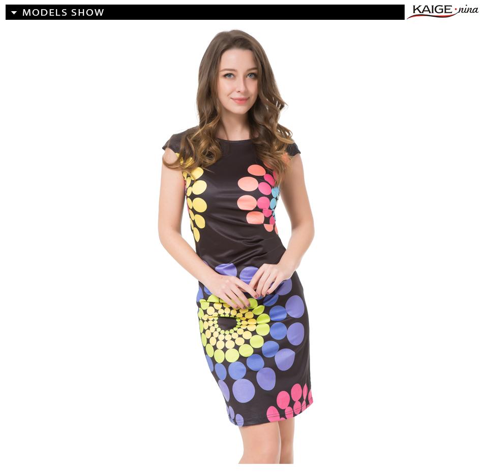 17 Kaige Nina dress Women bodycon dress plus size women clothing chic elegant sexy fashion o-neck print dresses 9026 11