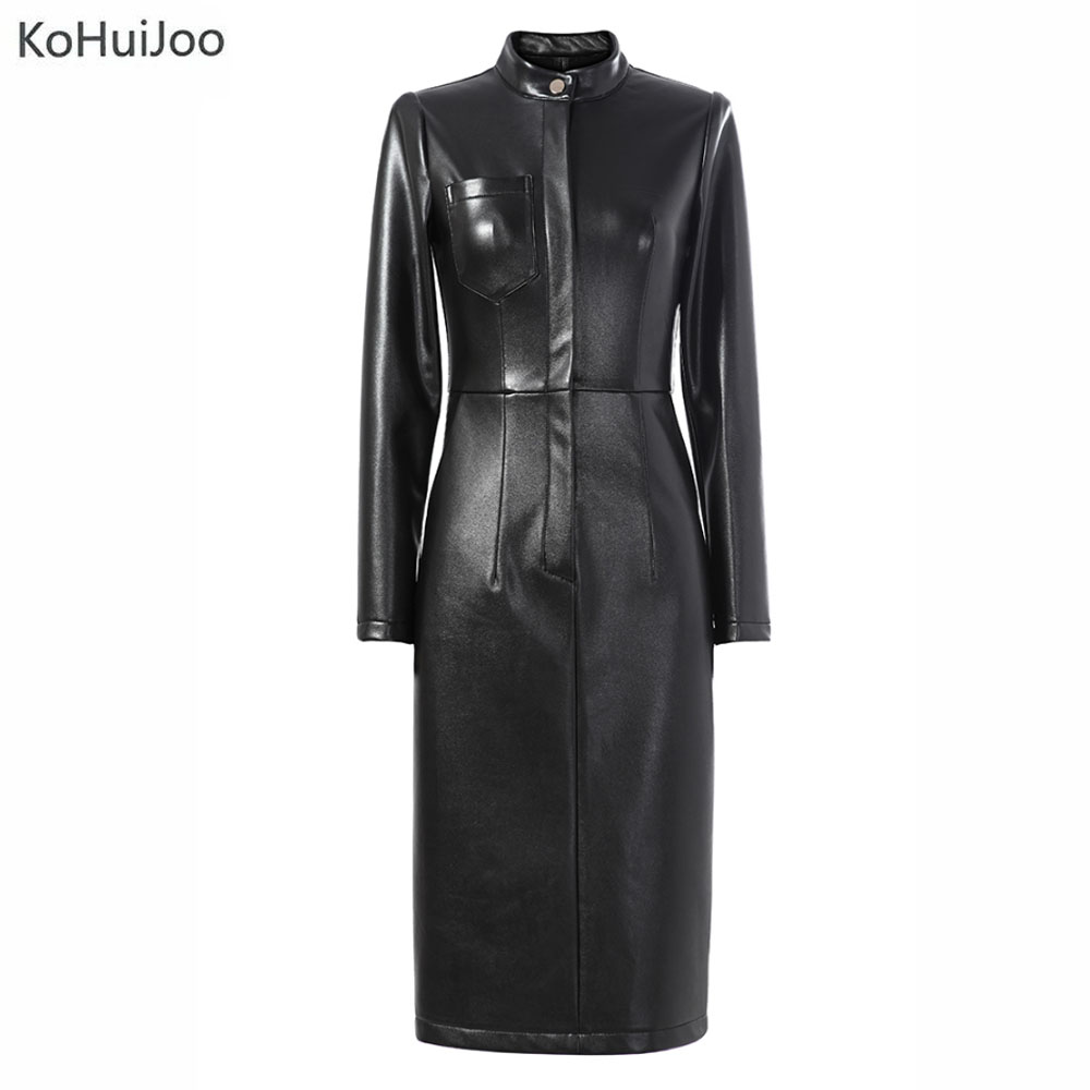 b6e7369db378e Fashion Autumn Winter Women Sexy Faux Leather Dress Thick Wam Long Sleeve  Women Black Short Bocydon Pu Leather Dresses Lady-in Dresses from Women's  Clothing ...