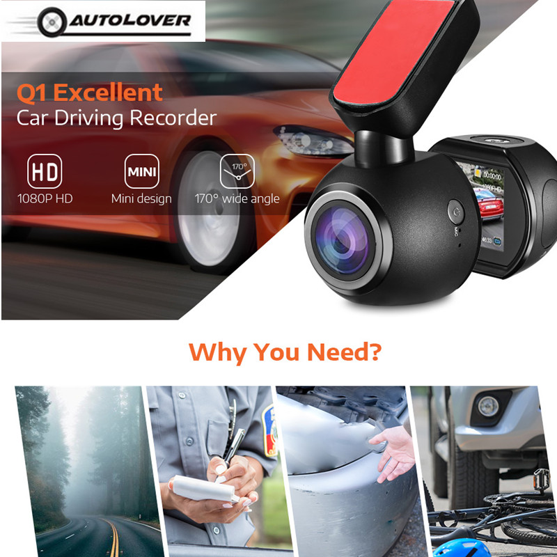Q1 Mini Car DVR Dash Camera 1080P HD Driving Recorder Parking Monitor Loop Record Gsensor 170 Degree Angle Night Vision Dash Cam
