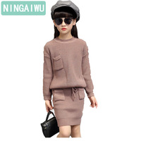 Girls' knitted sweater sets for kids 2 14 years old children's clothing new autumn girl sweater + short skirt baby fashion suit