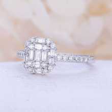 Huitan Silver Plated Wedding Ring Women Dreaming Band Brilliant Crystal Stone Setting Engagement For