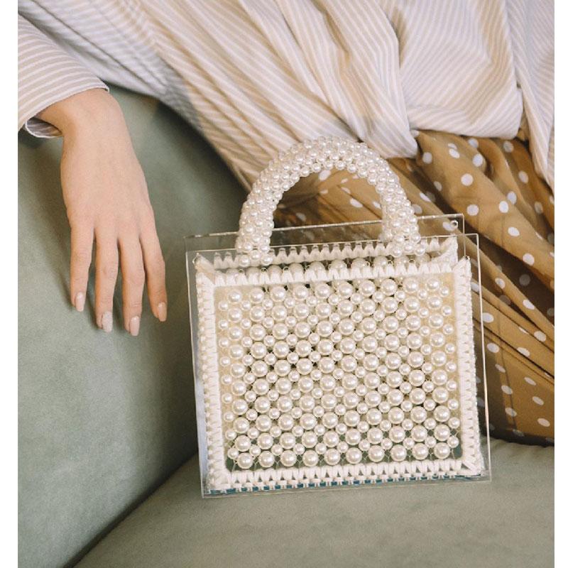 Sac de perles en laine transparent sac de perles tissé à la main pour femmes femme casual mignon sac fourre-tout en cristal dames sac à main marque de luxe