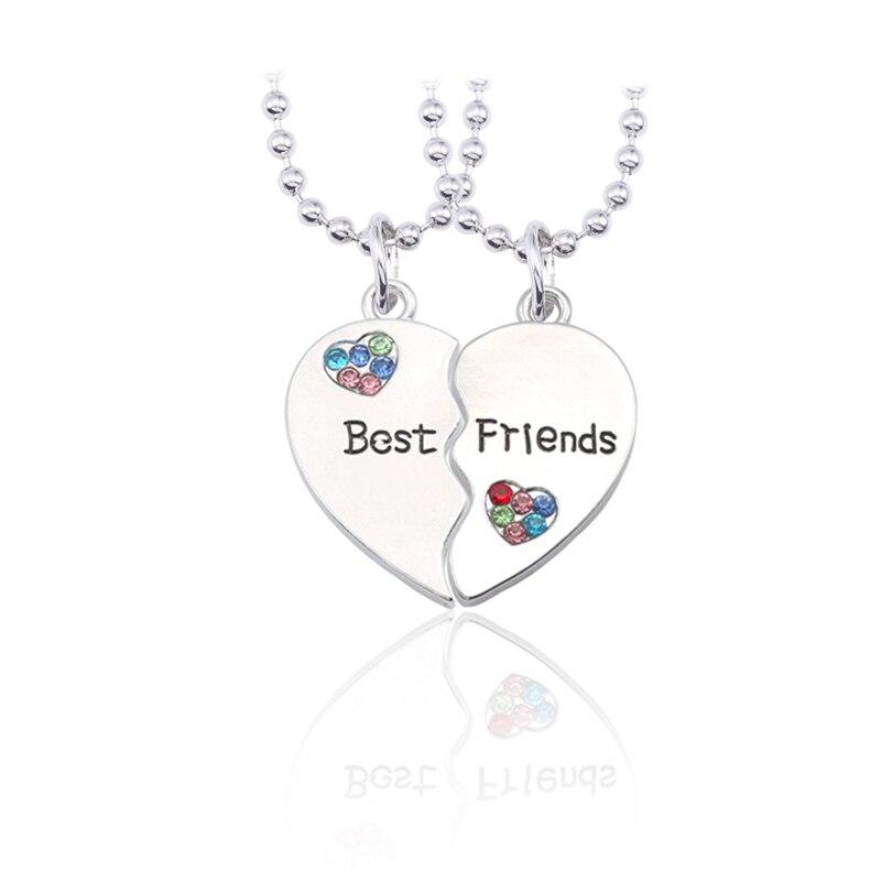 d27b84ebcbc6 BFF moda mejor amigo para siempre collar joyería para mujer Corazón Roto  colgante colorido diamantes de imitación corazones collares y colgantes