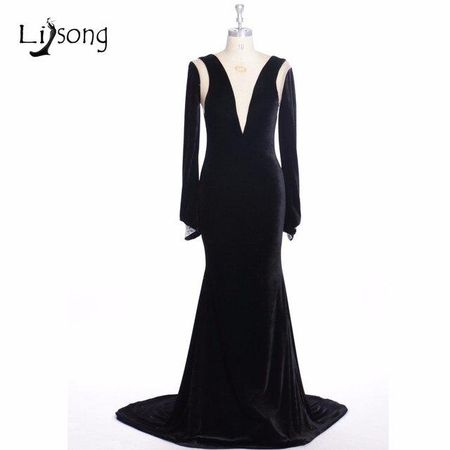 Schwarz Elegante Abendkleider Meerjungfrau Kleider V ausschnitt ...