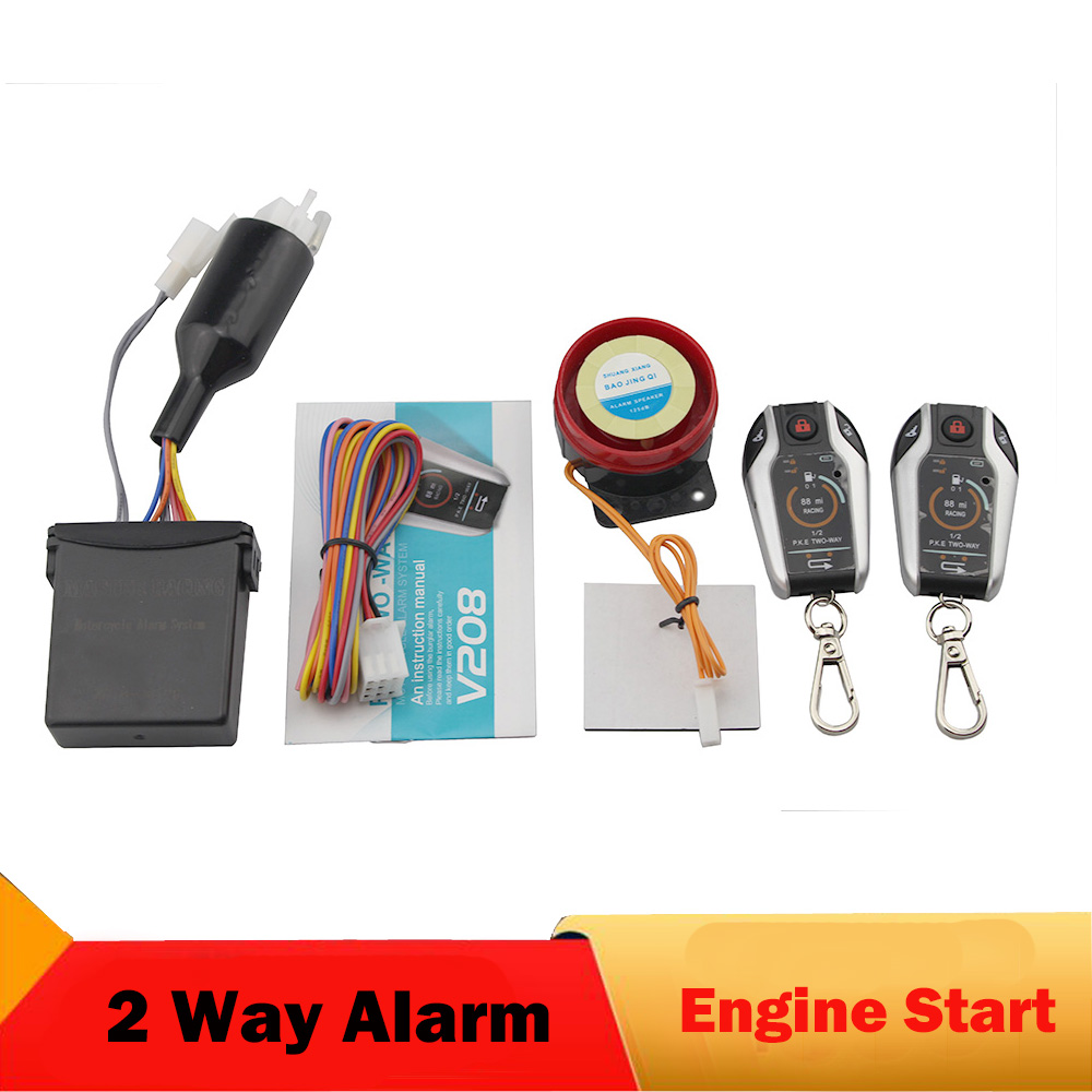 PKE Two Way Motorcycle Scooter Alarm System Anti-theft Security Burglar Alarm Moto Bike Remote Engine Start Alarm Warner carchet motorcycle anti theft security alarm system burglar alarm remote control security engine antifurto moto sirena
