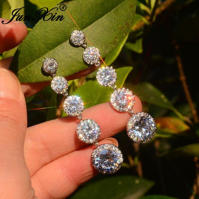 JUNXIN Luxury Female Crystal Long Dangle Drop Earrings White Gold Round White Zircon Boho Wedding Earrings For Women Jewelry CZ
