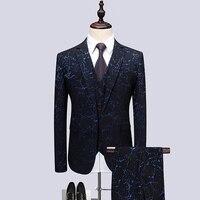 Classic Men Jacquard Suit Business Banquet Men Dress Jackets and Pants with Vest High Quality Wedding Stage Suit Men 3 Piece Set