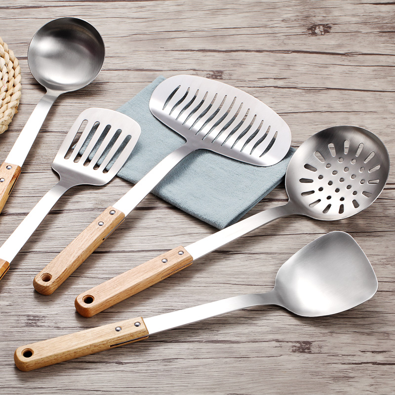 US $24.95 35% OFF|Stainless Steel Cooking Utensils Set 5 Pieces Home  Kitchen Accessories Wood Cooking Tools Set Nonstick Cookware-in Cooking  Tool Sets ...