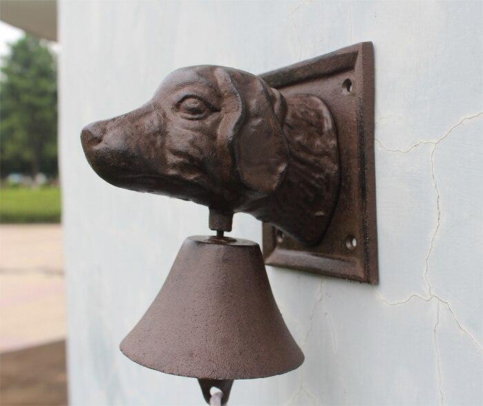 Винтажный чугунный дверной звонок с головой собаки, двухсторонний коричневый настенный металлический подвесной колокольчик, домик для дома, Декор для дома