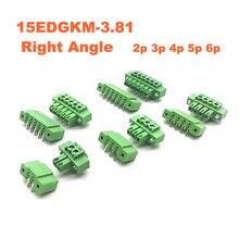 10pcs Pitch 3.81mm Right Angle 2 3 4 5 6P Screw Plug-in PCB Terminal Block Pluggable Connector male/female 15EDGKM+RM bornier стоимость