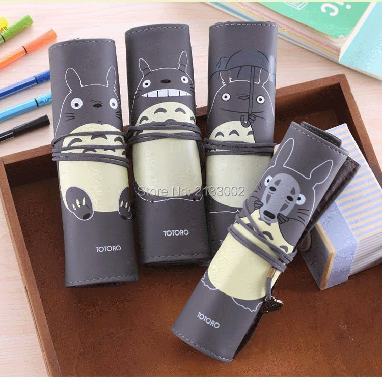 Creative My Neighbor Totoro PU Leather Roll Pencil Case Stationery Storage Organizer Bag As Gift Stationery