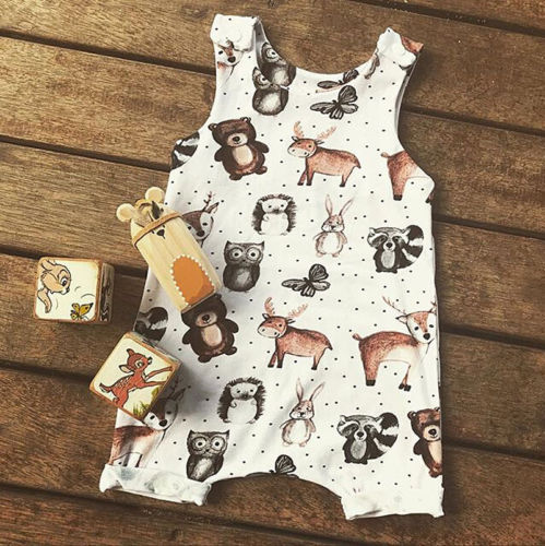 2020 Autumn Cute Baby Kids Boy Girl Infant Sleeveless Cartoon Animal Print Romper Jumpsuit Cotton Casual Clothes Outfit Set