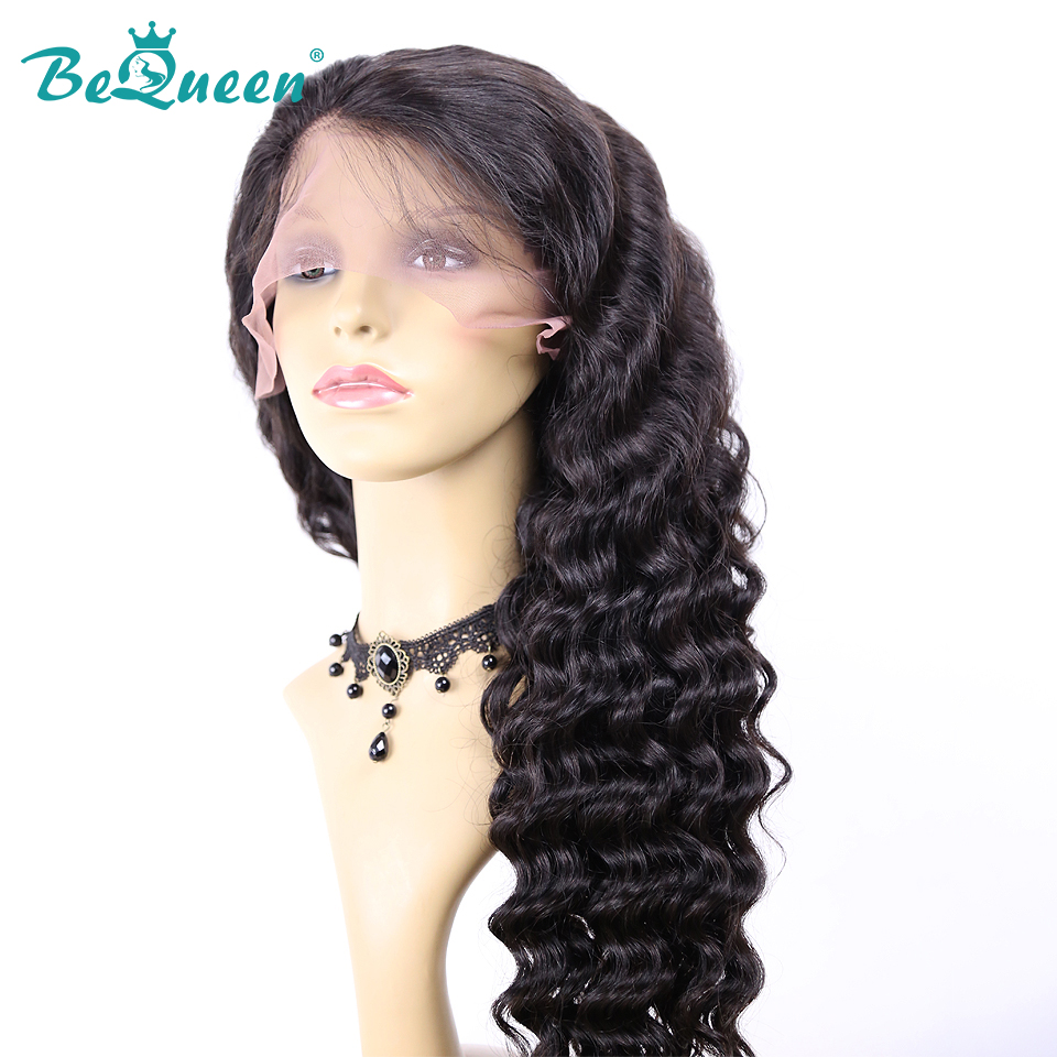Bequeen 13x4 Lace Front Wig 360 Lace Front Human Hair Wigs With Pre Plucked Baby Hair Peruvian Deep Curly 360 Wig 200% Density Hair Extensions & Wigs