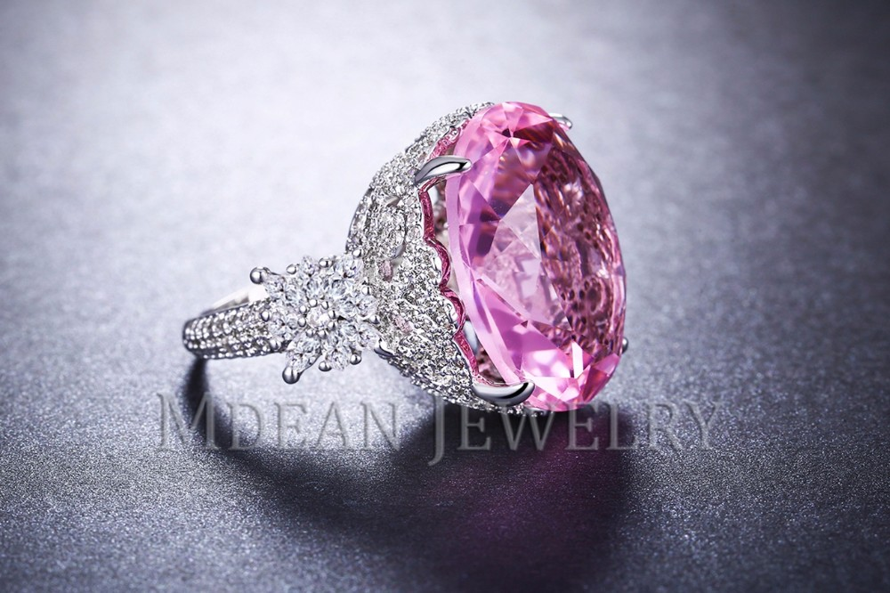 MDEAN Pink Stone White Gold Color Wedding Rings For Women Engagement Big AAA Zircon Jewelry Ring Fashion Bague MSR812 6