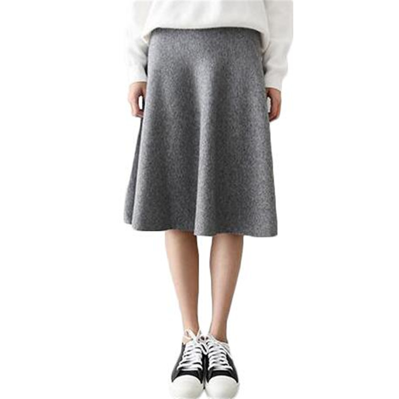 2016 Vintage Midi Skirt High Waist Skirts Womens Knitted ...