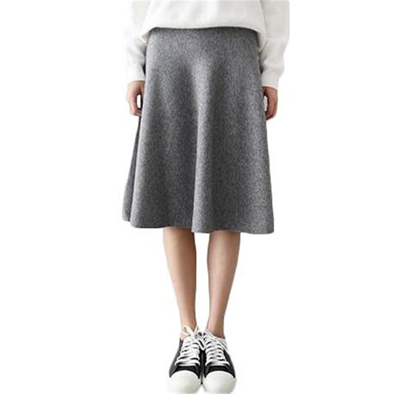 ZYFPGS 2019 Vintage Midi Skirt High Waist Skirts Womens Knitted Casual Black Gray Ladies Skirt Tight Waist Cashmere Fabric