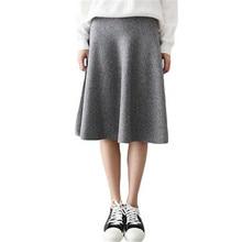 2016 Vintage Midi Skirt High Waist Skirts Womens Knitted Casual Black Gray Ladies NQ078