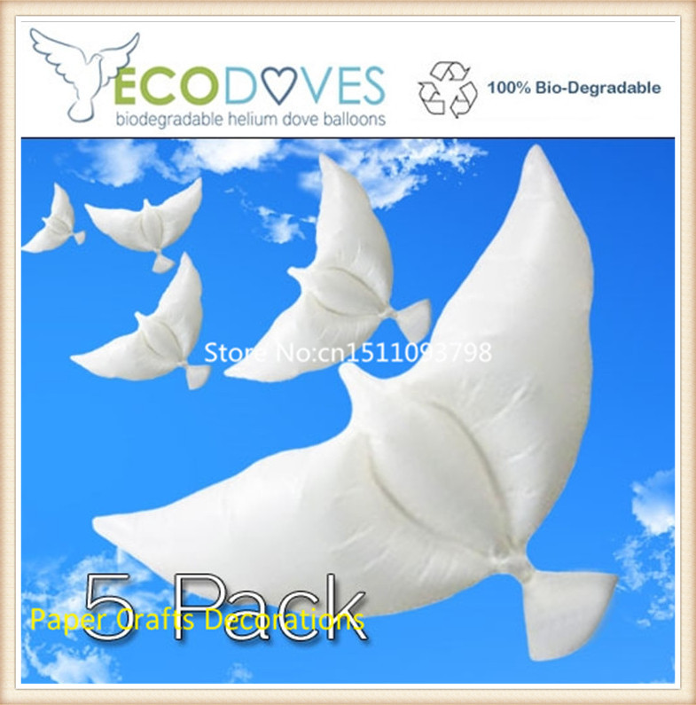 Free shipping 45pcs/lot biodegradable helium flying dove balloons white wedding/birthday/party event decorations size 105*45cm ...