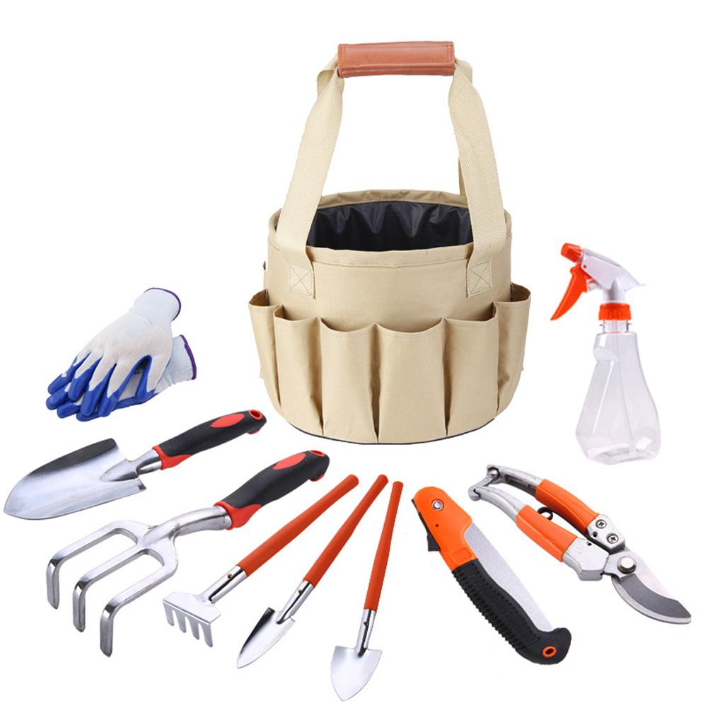 10pcs High Quality Polyester Tool Belt Bag Garden Tools Kit Bucket Organizer 28x25x12cm