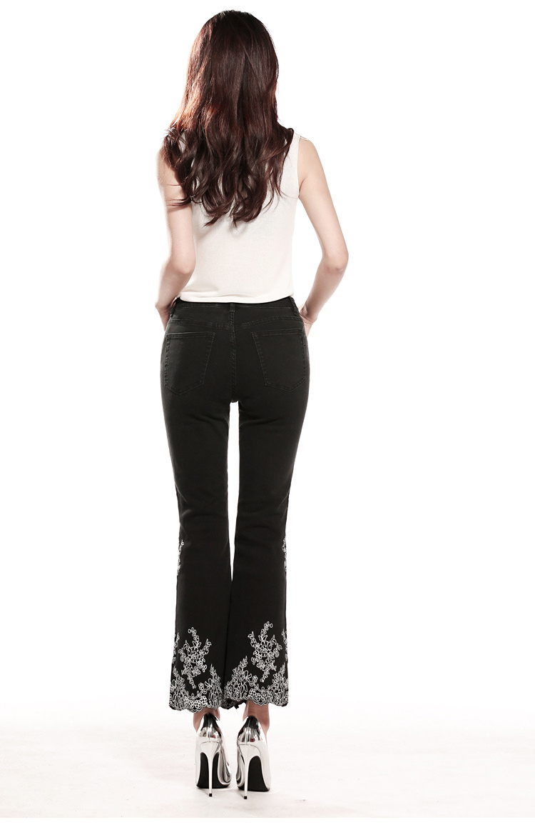 KSTUN FERZIGE women jeans high waist stretchy black embroidered flares denim pants mom jeans ladies trousers vaqueros mujer larger 36 16