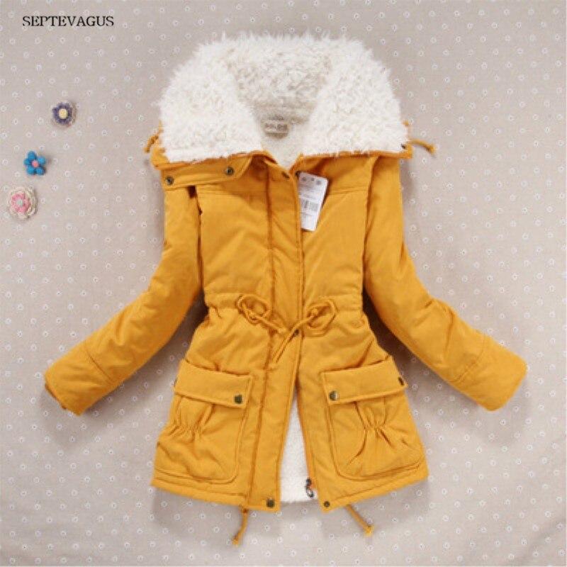 2018 Women Autumn Winter Coat Slim Plus Size Outwear Medium-Long Wadded Jacket Cotton Fleece Warm Yellow   Parkas  ;kaban bayan