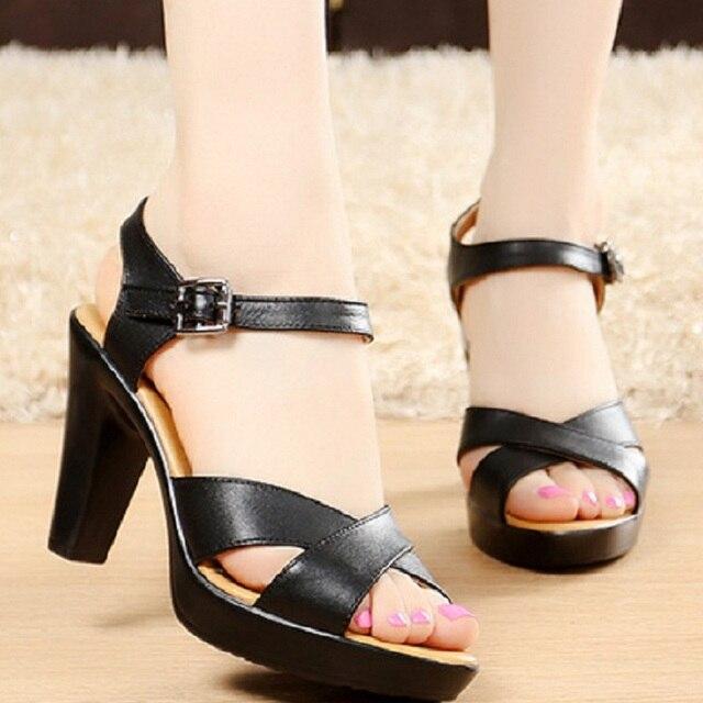 Designer Women Gladiator Sandals Genuine Leather Summer Pumps Shoes High Heels Peep Toe Roman Size 32-43 White Black Sandalias