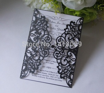1 set laser cut damask wedding invitation card with ribbon inner
