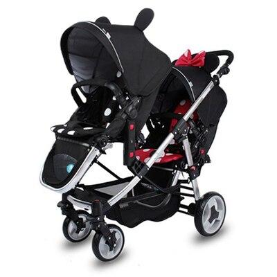 Gratis verzending Hoge kwaliteit tweeling kinderwagen Dubbele Kinderwagens Vervoer Voor Twins Kinderwagens Pasgeborenen twee baby Lichtgewicht wandelwagen