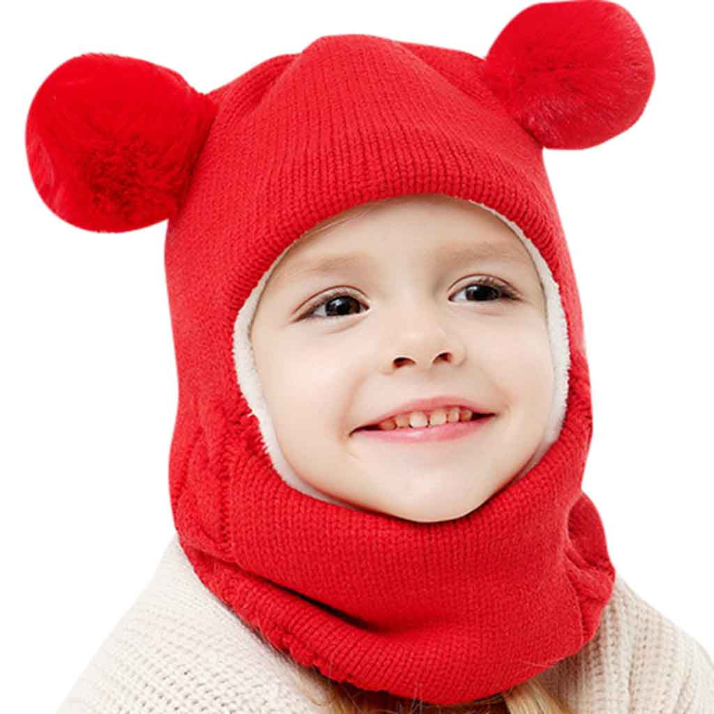 Kids Winter Hats Ears Girls Boys Children Warm Caps Scarf Set Baby Bonnet Enfant Knitted Cute Hat for Girl Boy 1D18 2