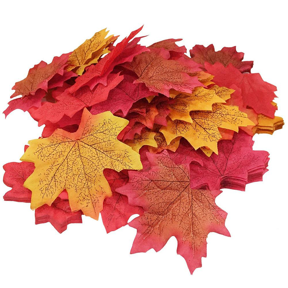 50Pcs/Pack Delicate Fall Artificial 8cm Maple Leaves for Weddings Events Decorating