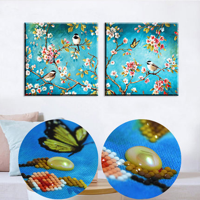 5d Special Shaped Diamond Bird Flowers Painting Modern Embroidery