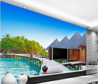 3d landscape wallpaper custom 3d wallpaper Maldives sea house island landscape backdrop photo 3d wallpaper