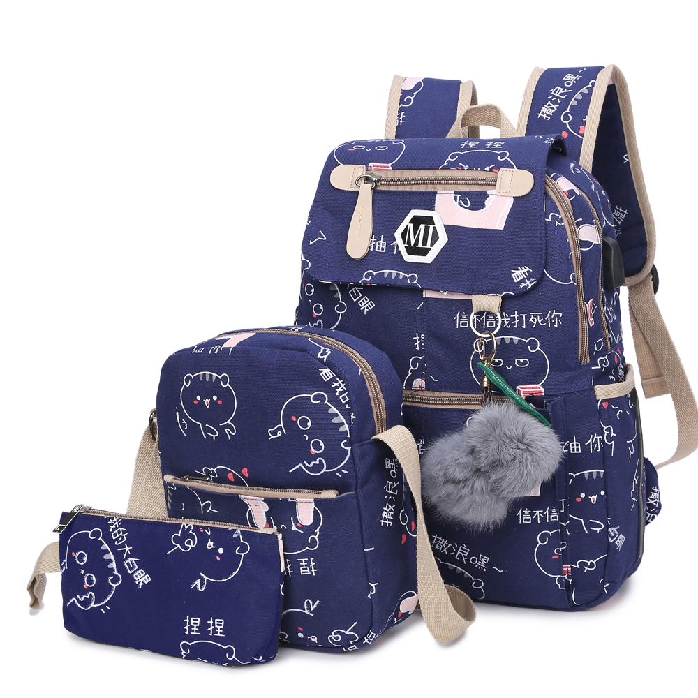 College Girl Canvas 4pcs Backpack letters Printing Women Usb School Backpacks Schoolbag for Teenagers Student Book shoulder bags
