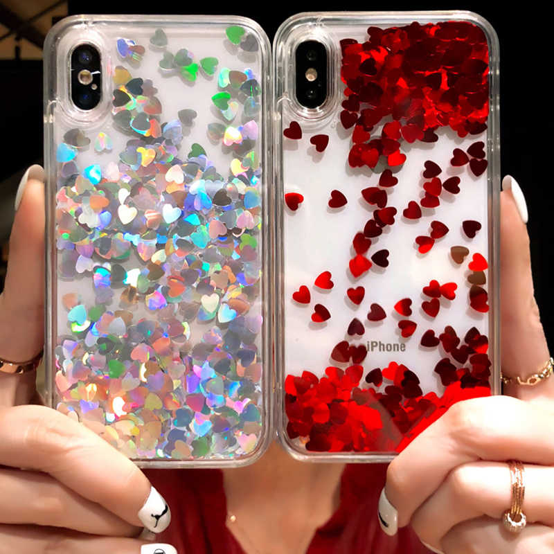 Bling love heart Sequins quicksand Case for iphone X XS Max XR 8 7 Plus 6 2cfb6d2d2dd2