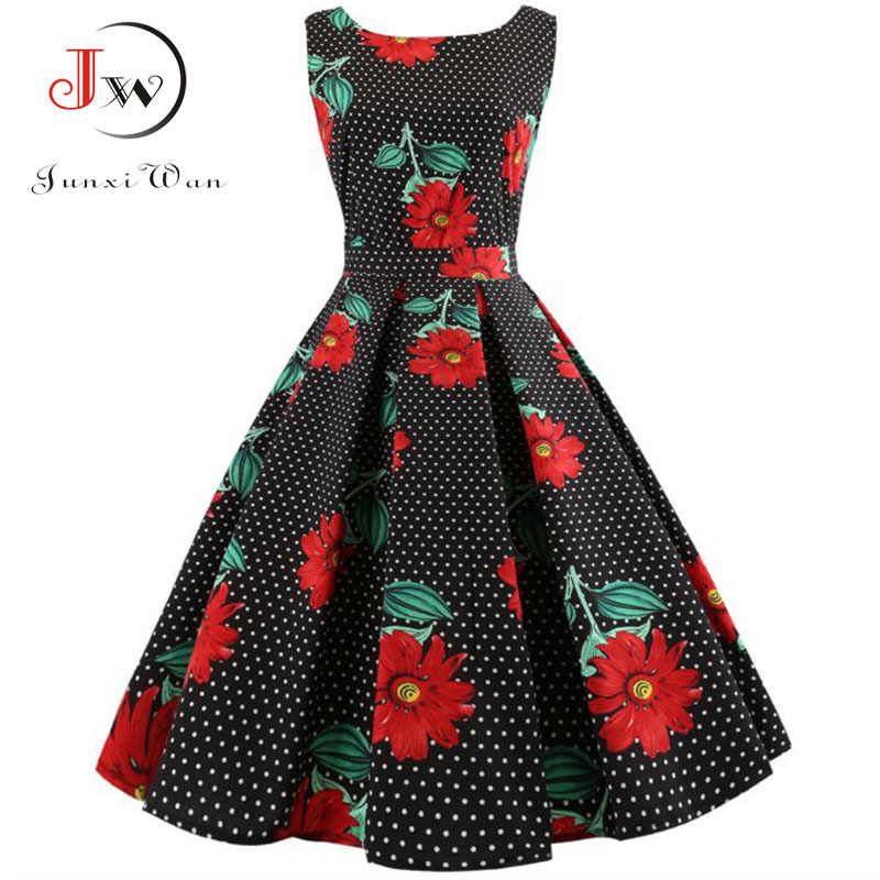 64c5c8fe8fd4e Floral Print Vintage Dress Women Summer Retro PinUp Dresses Hepburn 50s 60s  Rockabilly Robe femme Casual Party Work Vestidos
