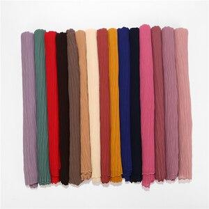 Image 4 - Châle plissé en mousseline de soie pour femmes, grande taille, Turban plissé, longue écharpe enveloppée, 180x85cm, nouvelle collection