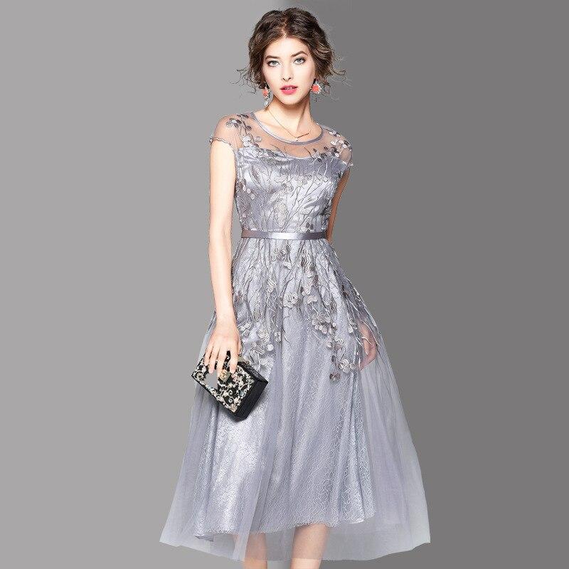 Mode Brodé Nouveau La Cou Plus Pincée O Net Big Robes Taille Hem 2017 Robe Fil Parti Argent L'ukraine D'été Femmes nwO80XNPk