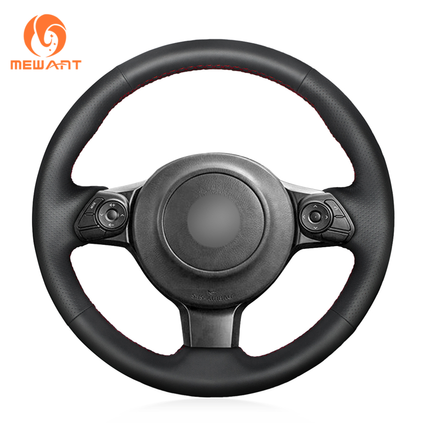 MEWANT Black Genuine Leather Car Steering Wheel Cover for Toyota 86 2016 2017 2018 2019 Subaru