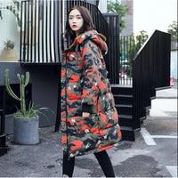New Fashion 2017 Camouflage Winter Women S Down Jacket Oversize Long Coat Large Fur Hooded Parka