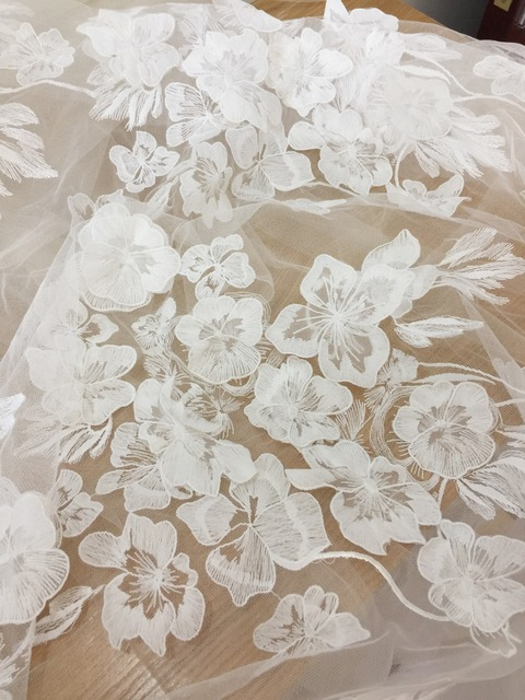 Elegant 3D Appliqued Flower Lace Fabric in Off White , Tulle ...